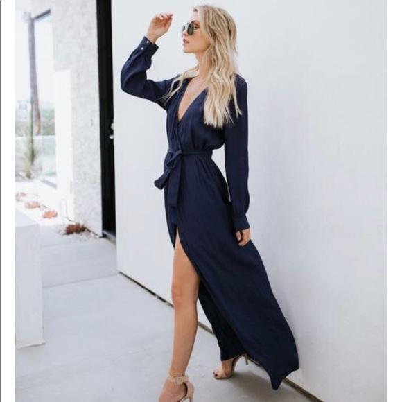 b4f1721cb1 VICI Long Sleeve Solid Bardot Wrap Maxi Dress. M_5b0c468d05f43071a3dcaaaa